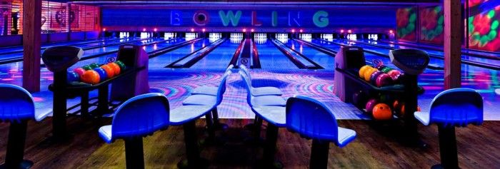 blacklit bowling alley